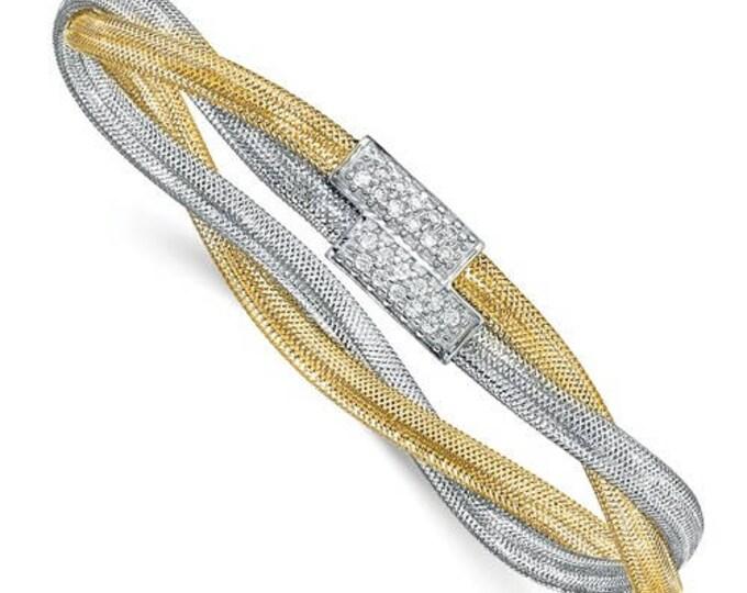 Gorgeous Twisted 14 Karat Yellow & White Gold Fancy CZ Stretch Bangle Bracelet.