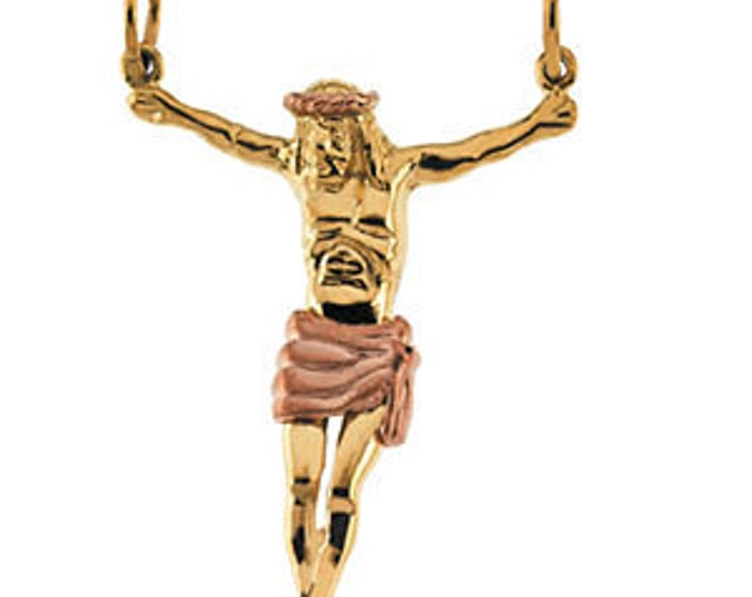 Custom 14 Karat Yellow & Rose Gold 34.5x25mm Crucifix Pendant