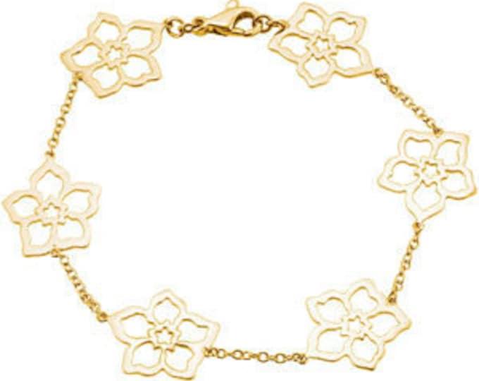 "Beautiful 14 Karat Gold Flower Forget Me Not 7"" Bracelet"