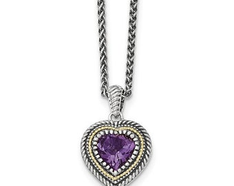 Sterling Silver & 14 Karat Amethyst Heart Necklace