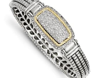 Custom Handcrafted 925 Sterling Silver w/14k 0.25 Carat Diamond Bangle Bracelet.