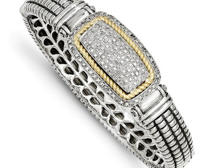 Custom Handcrafted 925 Sterling Silver w/14k 0.25 Carat Diamond Bangle Bracelet.
