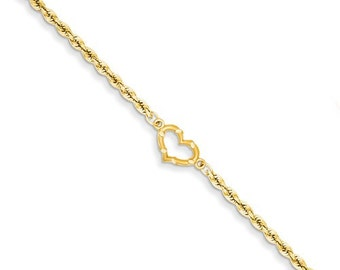 Solid 14 Karat Gold Open Heart Rope Anklet