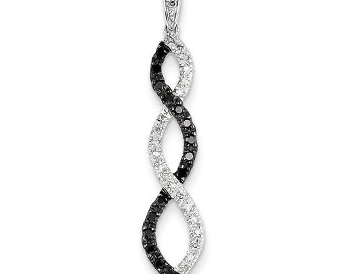 14 Karat White Gold 0.25 Carat Black & White Diamond Twisted Pendant.