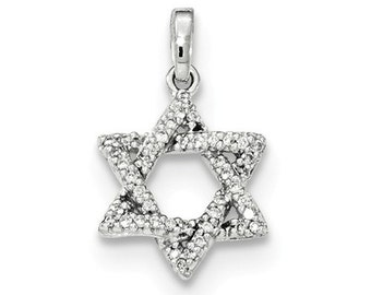 14 Karat White Gold Diamond Star of David Pendant.