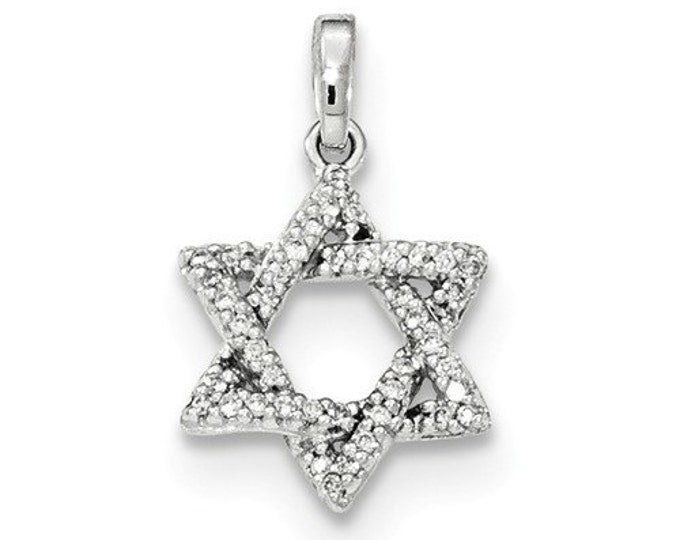 14 Karat White Gold Diamond Star of David Pendant.