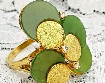Vintage Handcrafted 18 Karat Yellow Gold Diamond & Jade Cocktail Ring