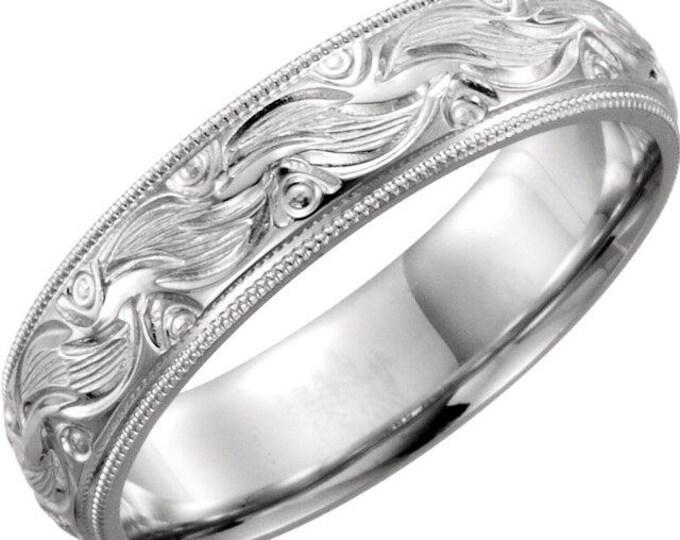 Custom Handcrafted Solid 14 Karat White Gold or Platinum Unisex Comfort Fit 6mm Hand-Engraved Wedding Band