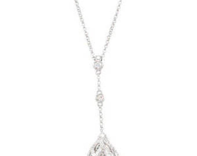 """Stunning 14 Karat White 3/4 CTW Diamond Pendant Openwork Chain 18"""" Lariat Y Necklace"""