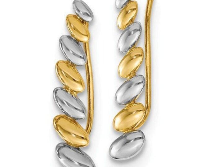 Gorgeous Custom Solid 14 Karat Yellow & White Gold w/Rhodium Polished Fancy Ear Climber Earrings.
