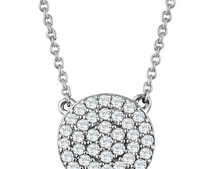 "Stunning 14 Kart White, Rose or Yellow Gold 1/3 Carat SI1-SI2 H+ Diamond Cluster Adjustable 16-18"" Necklace"