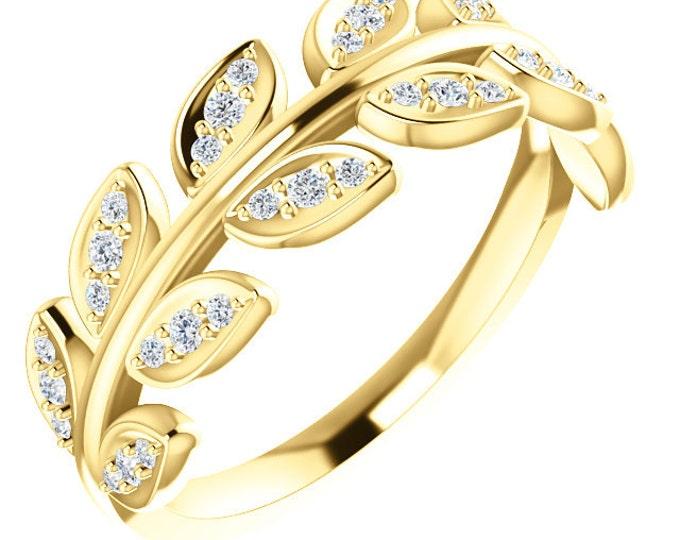 Beautiful 14 Karat White, Rose or Yellow Gold 1/4 Carat Diamond Leaf Ring