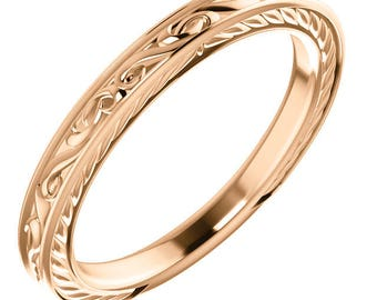 Handcrafted Solid Platinum, 10 Karat or 14 Karat Rose, White or Yellow Gold Vintage-Style Band