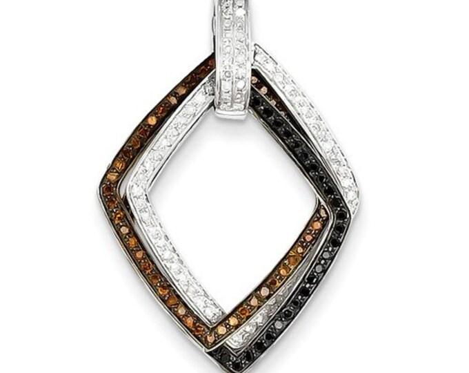 14 Karat White & Yellow Two-tone Gold Black, White, Brown Diamond Movable Pendant.