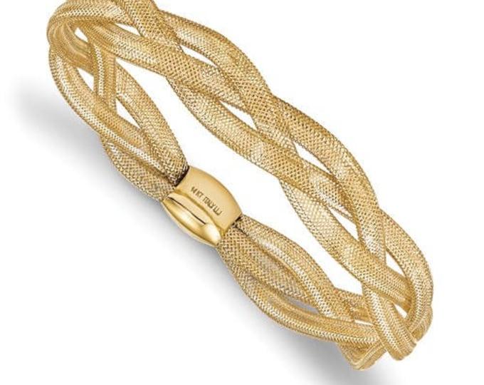Gorgeous 14 Karat Yellow Gold Fancy Braided Stretch Adjustable Bangle Bracelet.