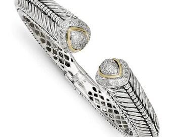 Beautiful 925 Sterling Silver w/14k 1/2ct. Diamond Hinged Cuff Bracelet