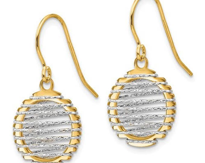 Beautiful 14 Karat Two-Tone Wire Wrapped Dangle Shephered Hook Earrings