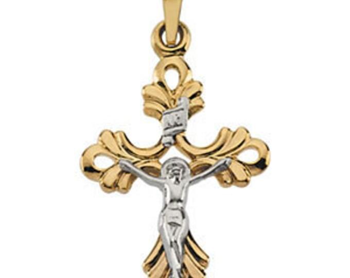 Custom 14 Karat Yellow & White 24.25x16.75mm Crucifix Pendant