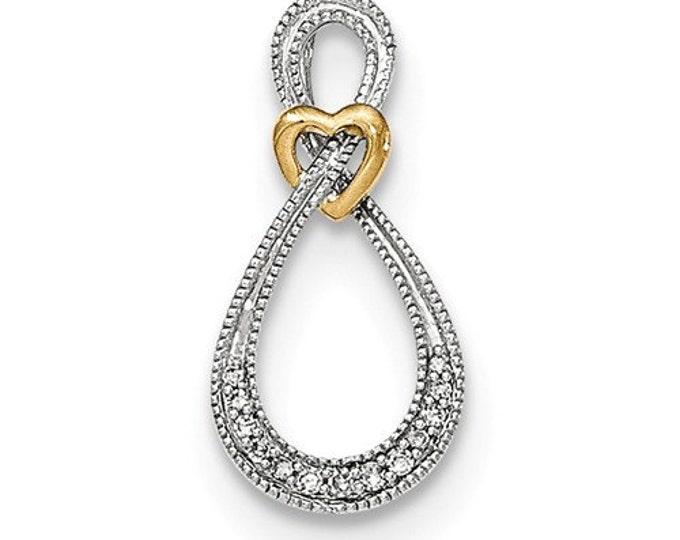 14 Karat Two-tone White & Yellow Gold Diamond Infinity with Heart Pendant.