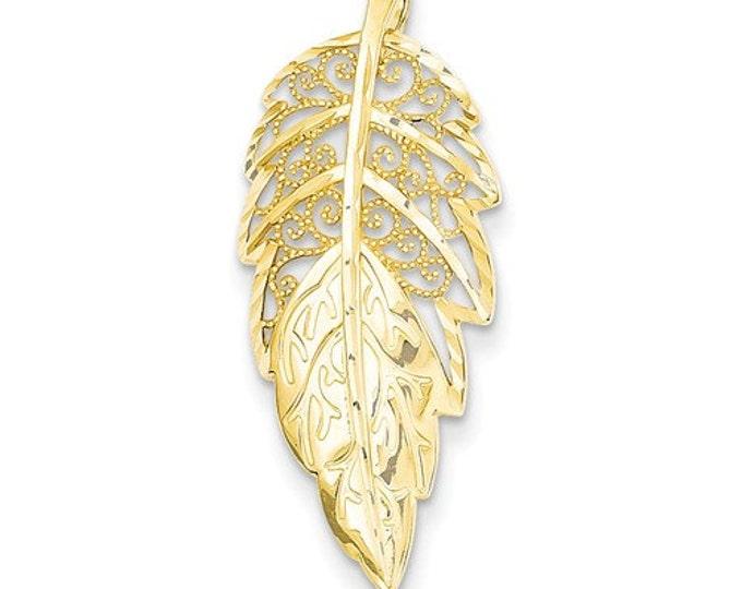 Beautiful Handcrafted 14 Karat Yellow Gold Diamond Cut Filigree Leaf Slide Pendant