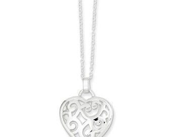 "Beautiful 925 Sterling Silver Filigree Heart pendant and 18"" Necklace."