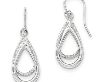 Gorgeous 14 Karat White Gold Polished and Textured Shepherd Hook Earrings.