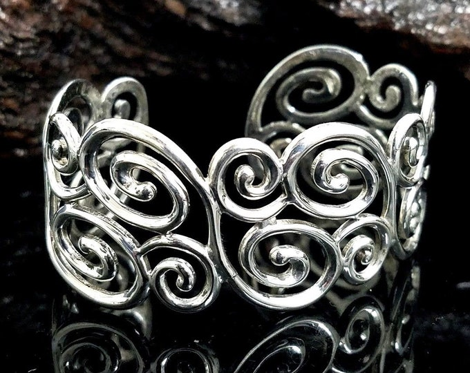 "Beautiful Stunning 925 Sterling Silver 27.50mm Swirl 7""-7.5"" Cuff Bracelet #V31."