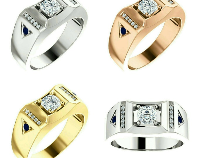 Gorgeous Handcrafted 14 Karat White, Rose or Yellow Gold 1.00 Carat Cushion Cut Moissanite, Diamond & Blue Sapphire Men's Ring.