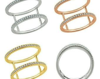 Gorgeous 14 Karat White, Rose or Yellow Gold 1/5 CTW Double Diamond Ring