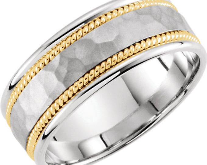 Custom Solid 14 Karat Gold 8mm Comfort Fit Hammered Hand-Woven Band