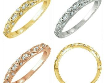 Gorgeous Handcrafted 14 Karat Gold 1/8 CTW Diamond Anniversary Wedding Band