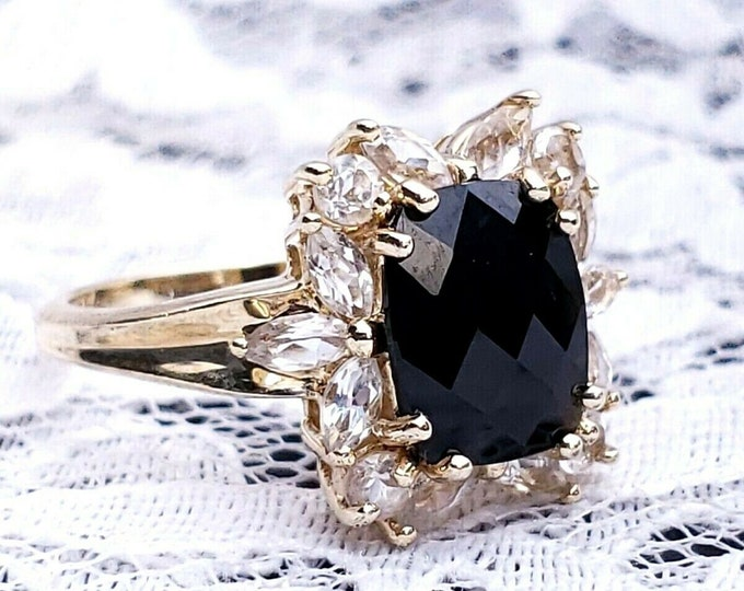 10K Yellow Gold 3.00 CTW Antique Cushion Cut Onyx & White Topaz Cocktail Ring