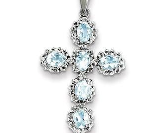 14k White Gold Diamond & Aquamarine Cross Pendant