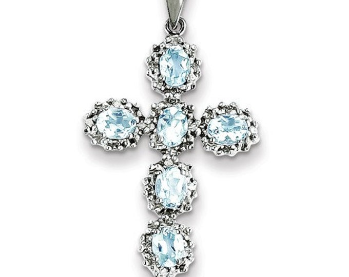 14k White Gold Diamond & Aquamarine Cross Pendant