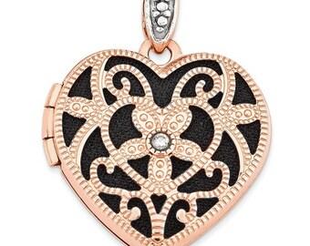 Gorgeous 14 Karat Rose Gold 18mm Vintage Inspired Heart & Diamond Black Interior Locket