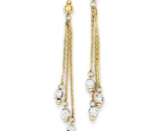 14 Karat Yellow & White Gold Two-tone Cable Chain Diamond Cut Bead Earrings