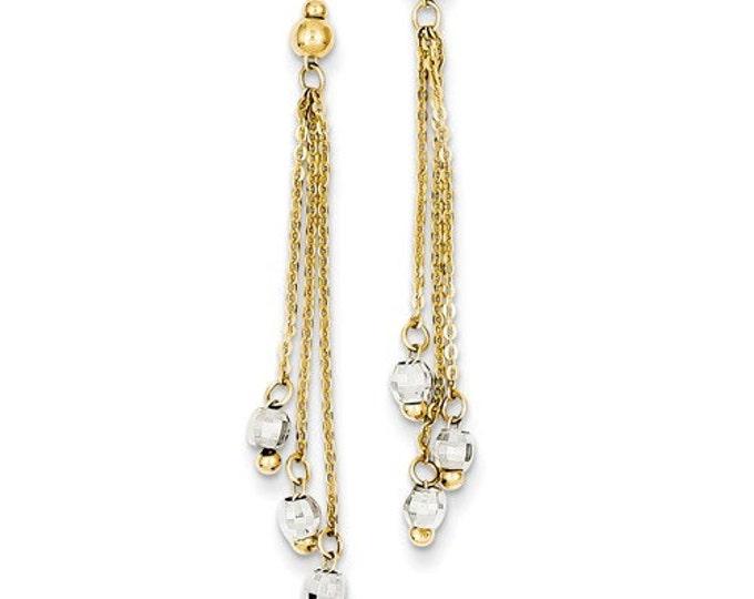 14 Karat Yellow & White Gold Two-tone Cable Chain Diamond Cut Bead Earrings