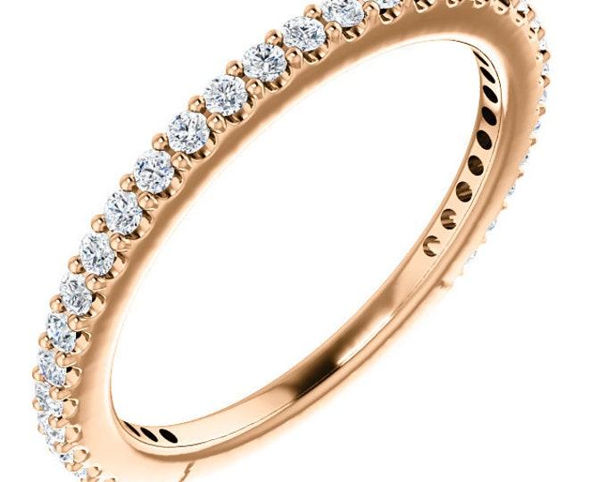 Gorgeous 14 Karat White, Rose Or Yellow Gold 1/3 CTW Diamond Stackable Ring