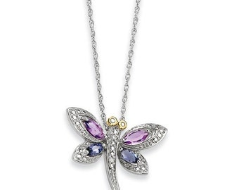 Beautiful 925 Sterling Silver & 14 Karat Yellow Gold Amethyst and Iolite and Diamond Dragonfly Necklace.