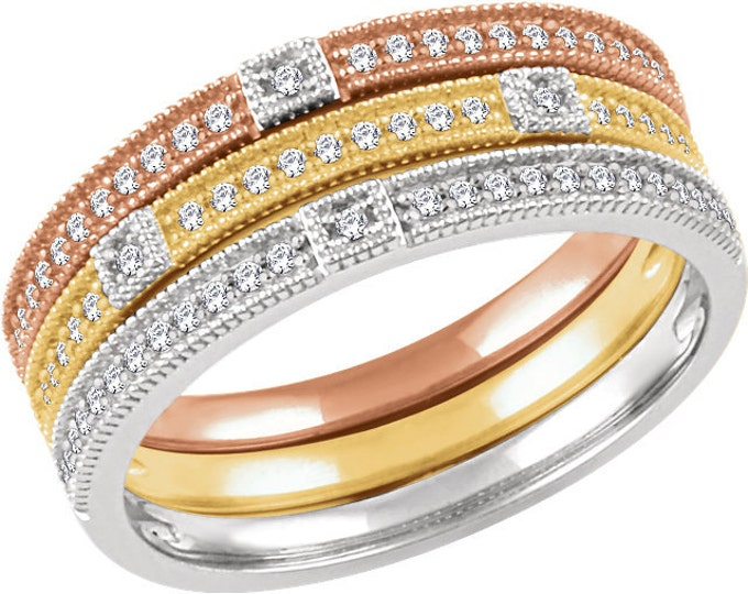 Gorgeous 14 Karat White, Rose Or Yellow Gold .07 CTW Diamond Stackable Ring