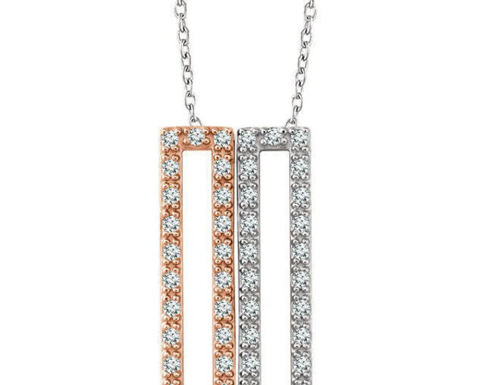 Gorgeous Custom 14 Karat Rose, White or Yellow Gold 1/3 CTW Diamond Rectangle 16-18 Inch Necklace
