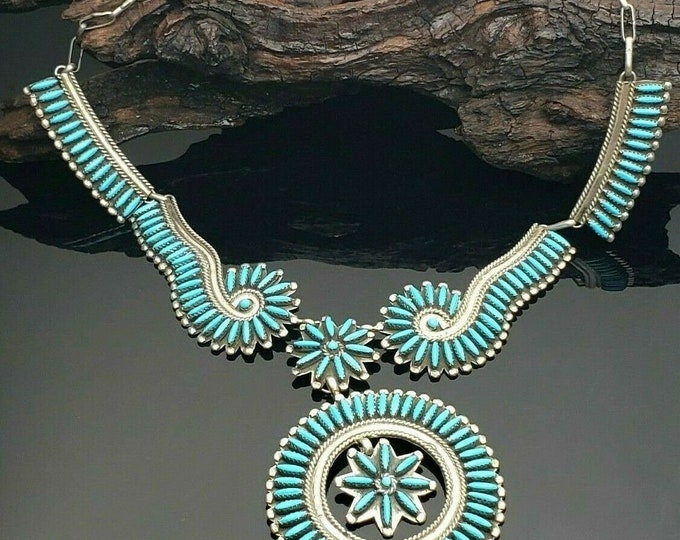 Native American Sterling Silver Turquoise Needlepoint Necklace By Charlie John