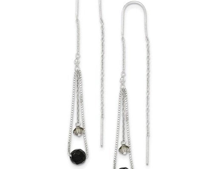 Stunning 925 Sterling Silver Black & Turmarine Crystal Threader Earrings