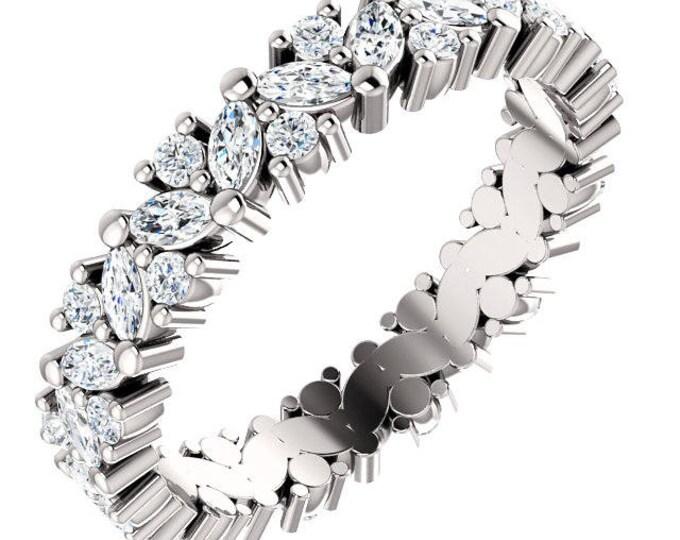 Gorgeous 14 Karat White, Rose or Yellow Gold 1.20 Carats Diamond Cluster Eternity Wedding Anniversary Band