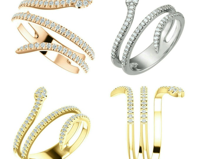 Gorgeous Handcrafted Solid 14 Karat White, Rose Or Yellow Gold 1/3 CTW Diamond Snake Ring
