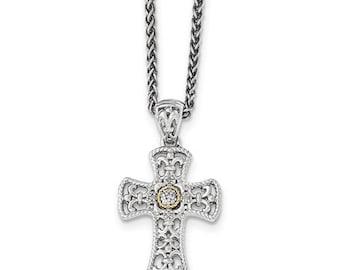 "Sterling Silver & 14 Karat Yellow Gold Diamond Cross 18"" Necklace"