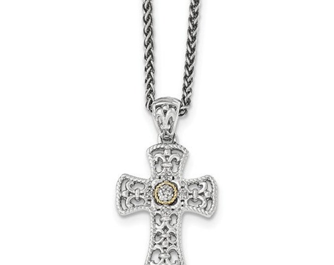"Sterling Silver & 14 Karat Yellow Gold Diamond Cross 18"" Necklace"