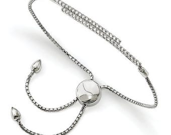 Custom Solid Sterling Silver Cubic Zirconia Adjustable Bolo Bracelet