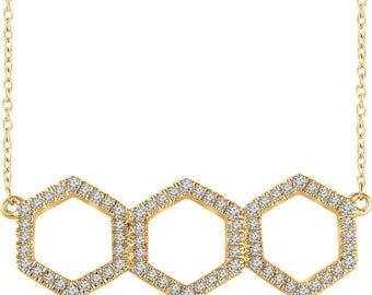 "Custom Handcrafted 14 Karat White, Yellow Or Rose Gold 1/4 CTW Diamond Geometric Adjustable 16-18"" Necklace & Pendant"