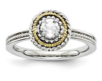 Beautiful 14 Karat Yellow Gold & 925 Sterling Silver Stackable White Topaz Ring